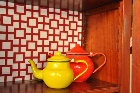 Hutch Wallpaper and Teapots
