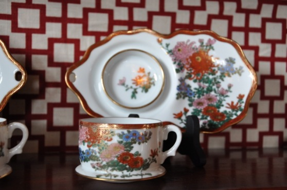 Ornate china tea cups
