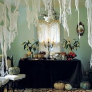 You can always rip cheesecloth and hang it around the house to add extra spookiness to a room. Via Martha Stewart: http://www.marthastewart.com/275513/indoor-halloween-decorations/@center/276965/halloween#/854103