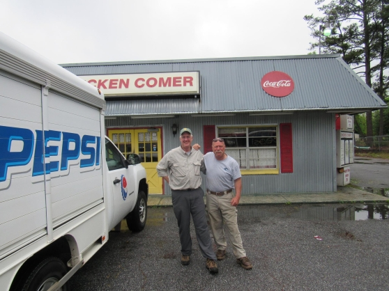 Steve and his old buddy Skip in front of Chicken Comer's.  Some Truly fine BBQ!